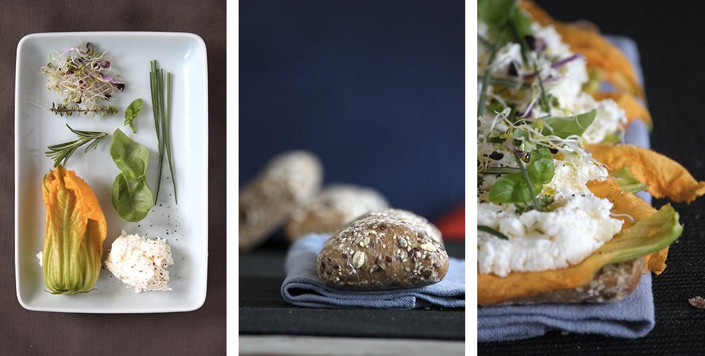 Ricetta Ciabattina ai cereali con fiori di zucca, robiola, erbe aromatiche e germogli