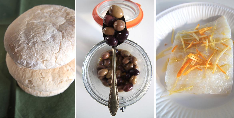 Ricetta con Pane arabesco con carpaccio di baccalà marinato, cipolla, olive e arancia