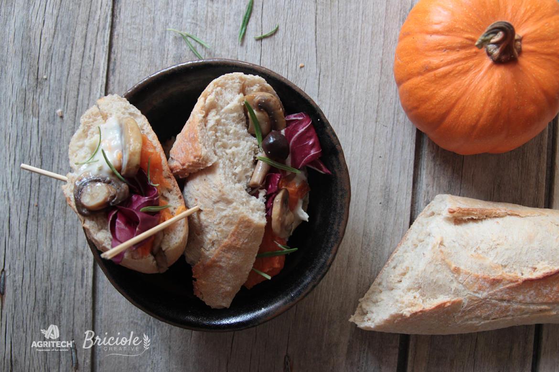 Ricetta Baguette provenzale con funghi, zucca, gorgonzola e radicchio