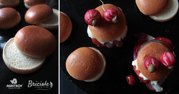 Ricetta Mini hamburger di Halloween con radicchio, pomodoro, bacon e olive